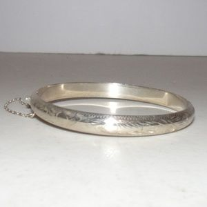 Silver Hinged Bangle Bracelet w/Safety Chain #3470